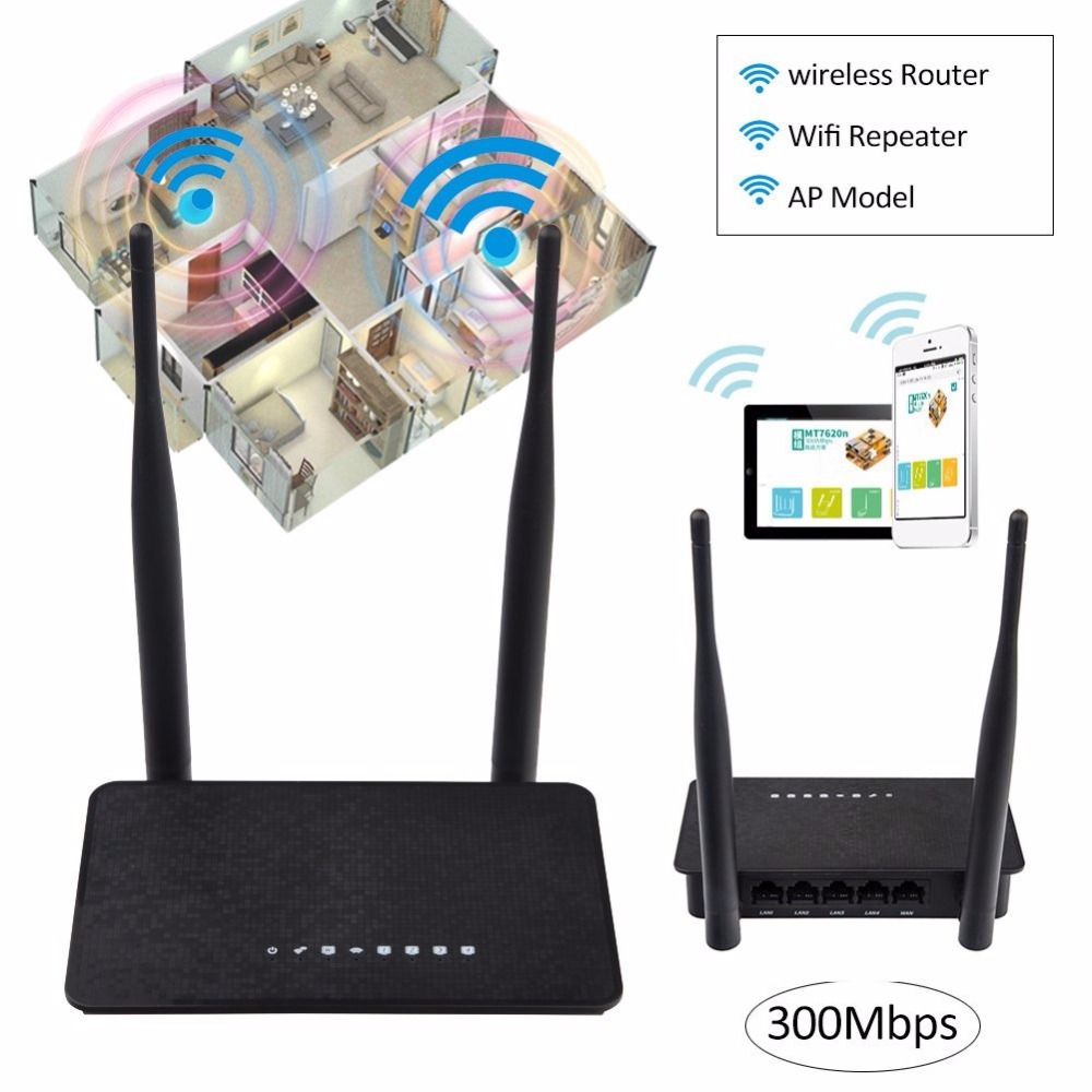 KuWFi 300Mbps Wireless Router MT7628KN Chipset Wifi Repeater 2.4Ghz Smart Wifi Router With 2Pcs Antenna With English Version-in Wireless Routers from Computer & Office