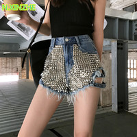 2019 women clothing high waist rivet tassel solid washed pure cotton short jeans Female casual loose denim wide leg shorts 087