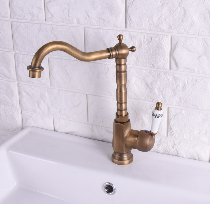 Vintage Retro Antique Brass Single Handle One Hole Bathroom Kitchen Basin Sink Faucet Mixer Tap Swivel Spout Deck Mounted Msf114