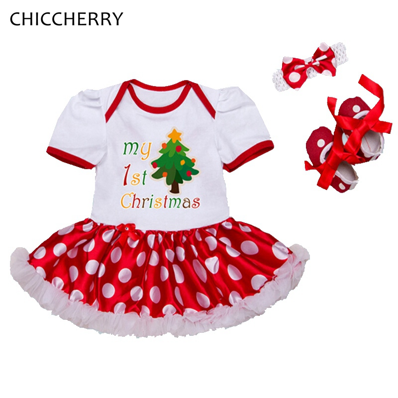 Tree My First Christmas Baby Girl Clothes Sets Bebe Lace Romper Dress Headband Crib Shoes Infant Clothing Kids Christmas Outfits