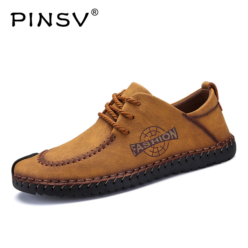 PINSV High Quality Leather Shoes Men Outdoor Casual Flats Men Leather Shoes Breathable Leather Mens Shoes Large Sizes38-46 hot sale mens italian style flat shoes genuine leather handmade men casual flats top quality oxford shoes men leather shoes