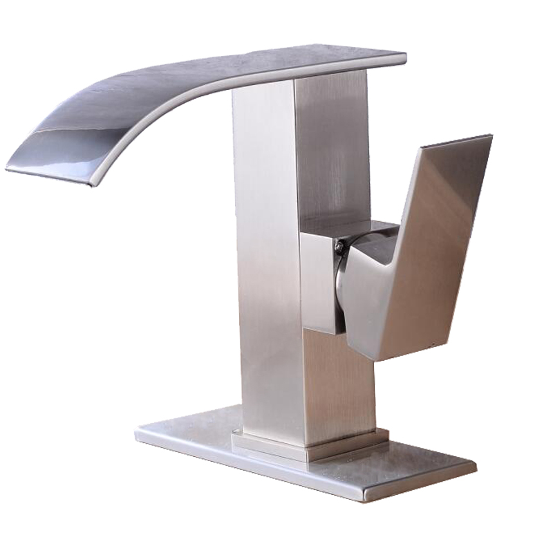 Us 57 11 20 Off Free Shipping Faucets Brushed Nickel Single Handle One Hole Deck Mount Waterfall Bathroom Sink Faucet Lavatory Mixer Tap Bronze In