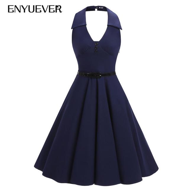 daec93575d62 US $26.26 20% OFF Enyuever Vestido Vintage Kleider 50 s 60 s Frauen Halter  Backless Retro Bademantel Solid Pinup Tunika Schaukel Blau Rockabilly kleid  ...