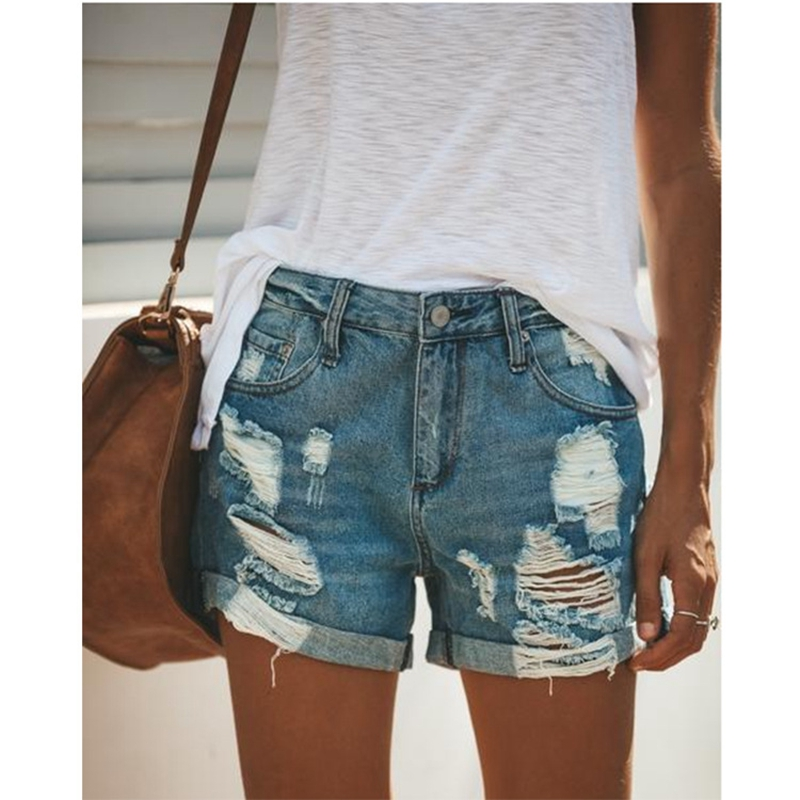 2020 Summer Denim Short Jeans Women Sexy High Waist Hole Ripped Shorts Fashion Casual Slim Plus Size Denim Shorts Lady Hotpants