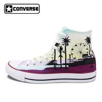 Converse All Star Men Women Shoes USA California Los Angeles Santa Monica Skyline Original Design Hand Painted Sneakers Gifts