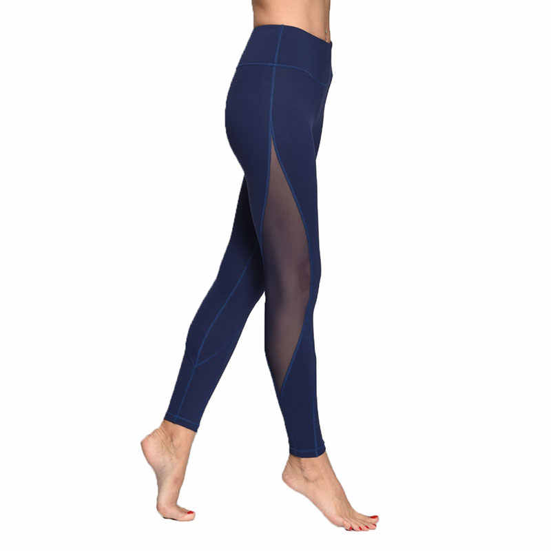 6d1a190ad582e ... Slim Women Mesh Sport Yoga Leggings Running Gym Sports Tights Sexy  Patchwork Pants Fitness Workout Pocket ...