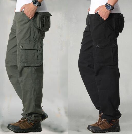 HTB1iXy cL1H3KVjSZFHq6zKppXaJ Men's Cargo Pants Mens Casual Multi Pockets Military Tactical Pants Men Outwear Straight slacks Long Trousers Large size 42 44