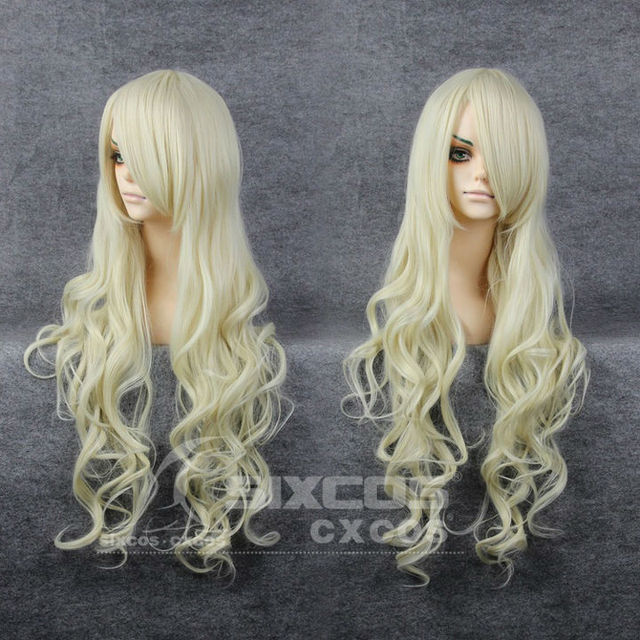 Free Shipping Full Lace Wig 80cm Light Golden Long Curly Deep Wave With Bang Cosplay Daily Wigs DIY Style K-ON!-Kotobuki Tsumugi