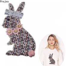 Prajna Cute Rabbit Patches camiseta mujer bordado coser parche para ropa moda camisetas adhesivo para camisas insignia chica DIY Applique(China)