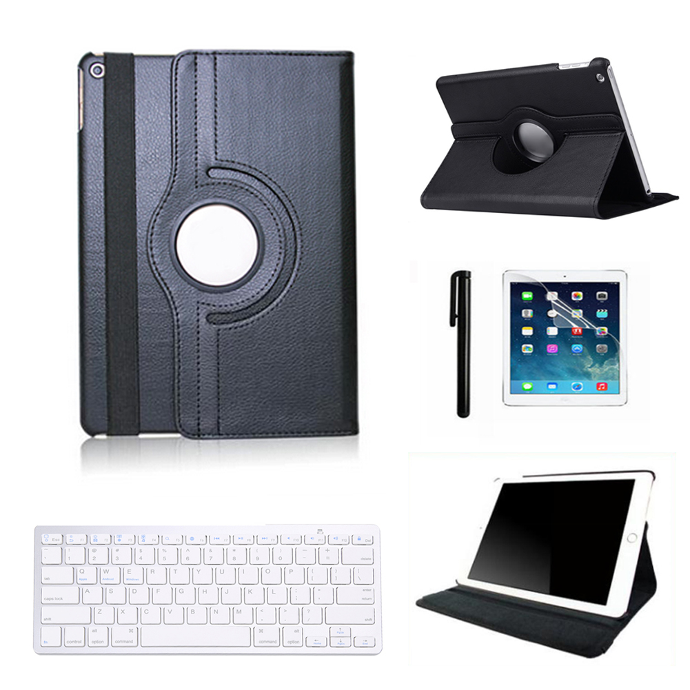 Black Cover Case For iPad 2 3rd 4th Bluetooth Keyboard with PU Leather Stand Case Cover And Screen Protector Stylus Pen FW1S wood grain pu leather tablet cover for apple ipad air 1 ipad 5 stand case for ipad air 2 ipad 6 screen protector stylus pen