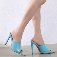 Women Shoes High Heels Sandals Summer Patent Leather Slip on Slides Fashion Peep Toe Shallow Pumps Zapatos Mujer Blue Black Pink