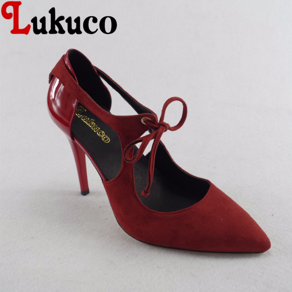 Lukuco sexy pure color women pointed toe party pumps microfiber made high thin heel shoes with pigskin inside lukuco pure color women mid calf boots microfiber made buckle design low hoof heel zip shoes with short plush inside