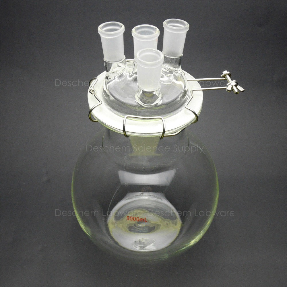 10000 ml, 24/40 Reaktion Glaskolben, 10 Liter, 4 hals, Flachen Boden Glasreaktor, Mit Klemm und Deckel-in Küvette aus Büro- und Schulmaterial bei  Gruppe 1