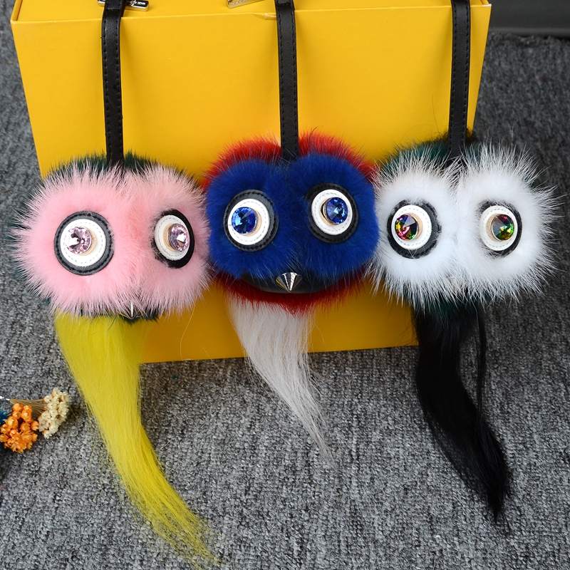 Real monsters fur bag mink pompom tassel silver keychain owl animal luxury leather designer women purse handbag evil eye charm tassel design keychain