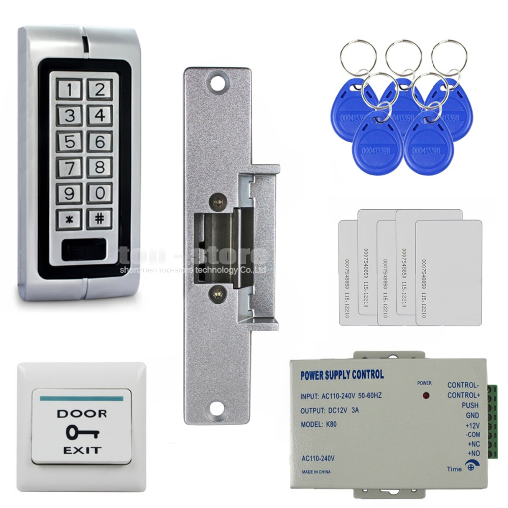 DIYSECUR 125KHz RFID Waterproof ID Card Reader Password Metal Keypad Door Access Control System Kit + Strike Lock W1 diysecur magnetic lock 125khz rfid waterproof metal password keypad id card reader door access control system kit w1