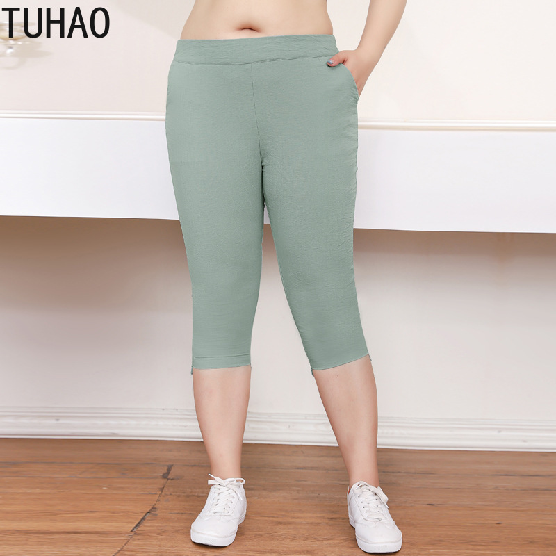 TUHAO Plus Size 10XL 9XL 8XL Women Pencil Pants Skinny Calf Length Pants Casual Stretch 7XL Trousers Summer Female Capris MS07