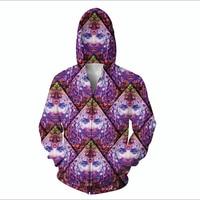 Newest Fashion Men S Purple Wowie Funny 3D Hoodies Zipper Outerwear S M L XL XXL