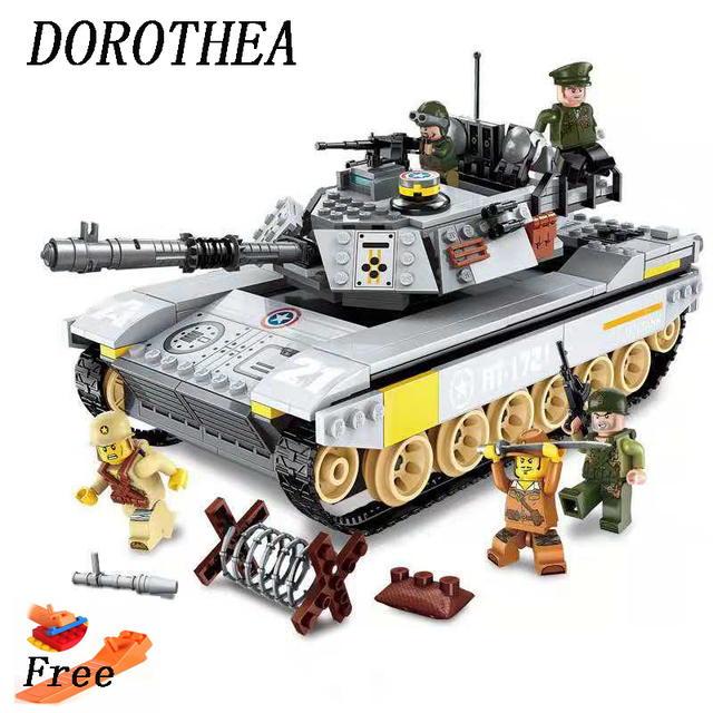 Assemble Tank Building Blocks Miliary Series Fans Model DIY Toys For Kids Gift