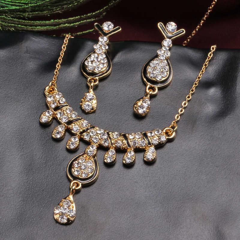 Dubai Gold Jewelry Sets Nigerian Wedding African Beads Crystal Bridal Jewellery Set Rhinestone Chocker Necklace Earrings Set