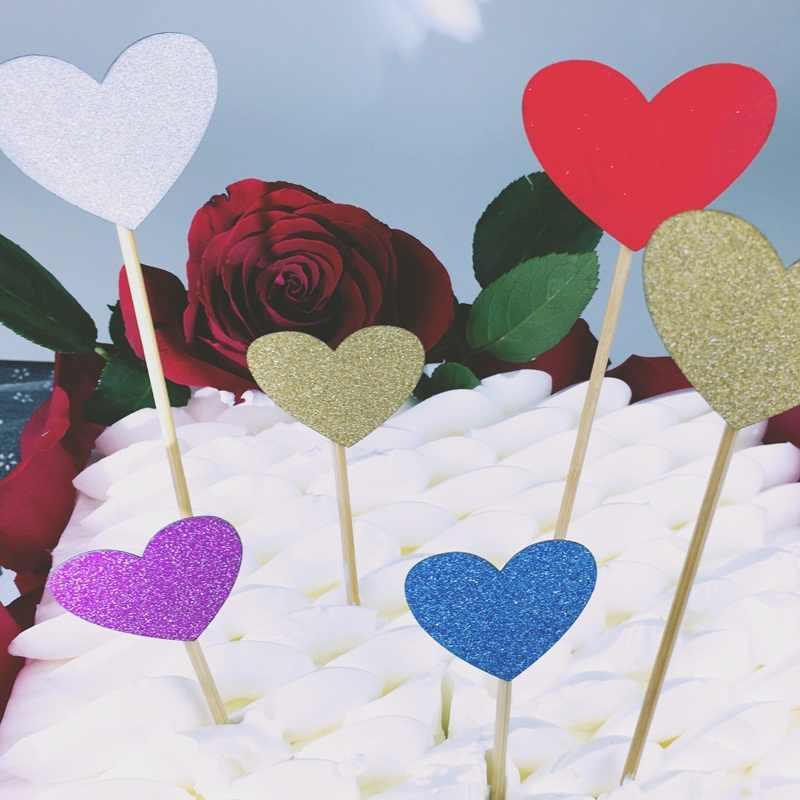 40 pcs Multicolor Em Forma De Coração Queque Bolo Topper Bandeira Etiqueta para Chá de Bebê Festa de Aniversário Do Casamento Decoração Suprimentos