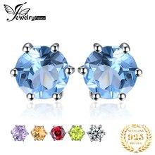 цены на Round Gemstone Natural Amethyst Citrine Garnet Peridot Topaz Earrings Stud Genuine 925 Sterling Silver Gift Girl 2015 Brand New  в интернет-магазинах