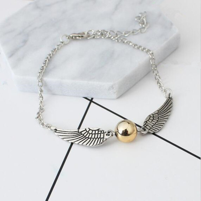 2017 New Fashion Harry Potter Deathly Hallows Angel wings Bracelets & Bangles Gold Snitch Bracelet For Women wholesale