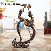 ERMAKOVA 29cm(11.4)Height Passionate Kiss Couple Figurine Lovers Statue Wedding Gift Wine Cabinet Living Room Home Decor
