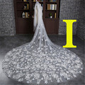Amazing 3 Meter Cathedral Long Wedding Veils Long Special Appliques Star Bridal Veil Wedding Accessories Bride Wedding Veil