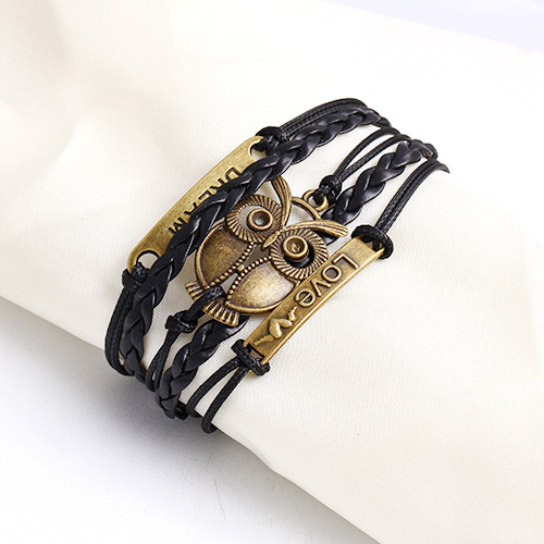 Leather Charm Bracelet black birds