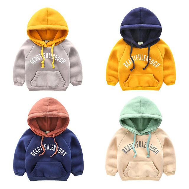 Bebê Roupas de Inverno 2016 Além de Veludo de Lã Lambswool T-shirt Do Bebê Da Menina de Manga Longa de Algodão Hoodies Camisolas para menina Pullover