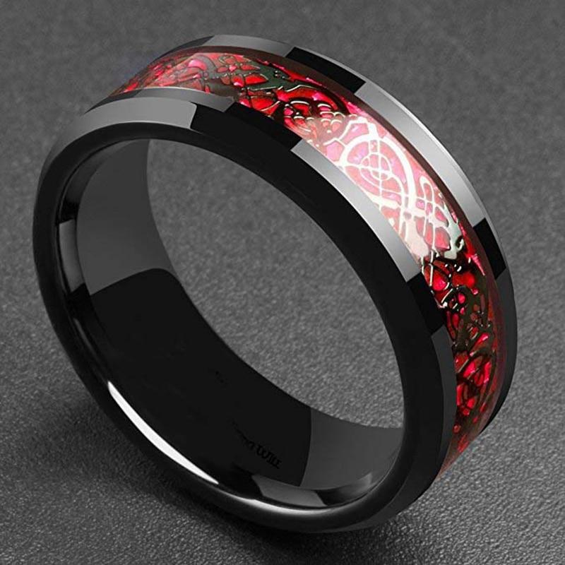 Властное мужское кольцо красное зеленое углеродное волокно черное инкрустация дракона комфортные кольца из нержавеющей стали для мужчин о...