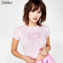 Nibber/летние розовые милые хлопковые укороченные топы с принтом бабочки, женские модные уличные повседневные футболки, базовые тонкие футболки с коротким рукавом