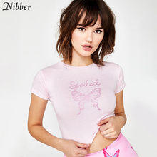 Nibber lato różowy śliczny nadruk z motylem bawełniane krótkie bluzki women2019fashion główna ulica koszulki w stylu casual Basic szczupły krótki rękaw tshirt