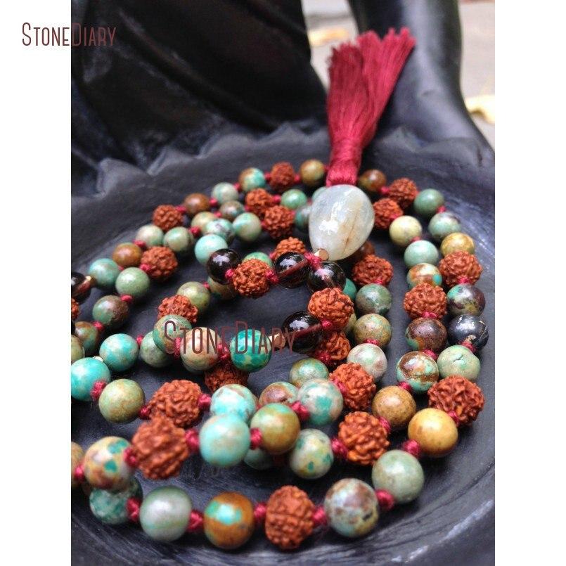 108 perles de Mala nouées à la main Turquoises et Rudraksha bijoux de Yoga Mantra perles de méditation collier avec gland NM10983