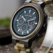 Relogio Masculino BOBO BIRD Wooden Men Watch Quartz Wristwatch Green Sandalwood Timepieces Chronograph  erkek kol saati недорого