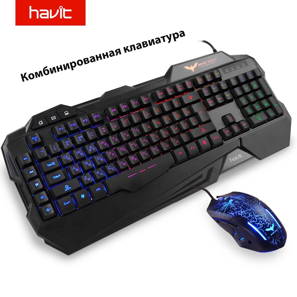 купить HAVIT Gaming Keyboard Mouse Combos Backlit LED 19 Anti-Ghosting Keys Gaming Keyboard Mouse With 7 Color Light 4 adjustable DPI онлайн