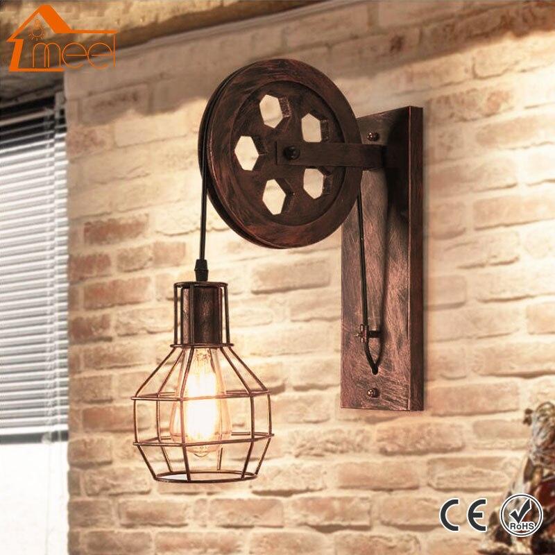 Retro Lanterns Fixtures Pulley Wall Lamp Pendant Suspension Light Lifting Restaurant Aisle Pub Cafe Light Bra Sconce