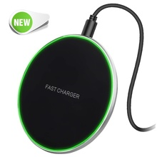 Universal 10W Fast Qi Wireless Charger For Iphone X 8 Plus Metal Charging Pad Samsung S10 S9 S8 Xiaomi Quick Charge