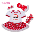 Christmas Dresses Newborn Short Sleeve Red Snowflake Pettiskirt Ruffles Dress Baby 4pcs Sets Girls Xmas Princess Party Clothes