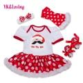 Christmas Dresses Newborn Short Sleeve Red Snowflake Pettiskirt Ruffles Dress Baby 4pcs Sets Girls Xmas Princess Party Clothes