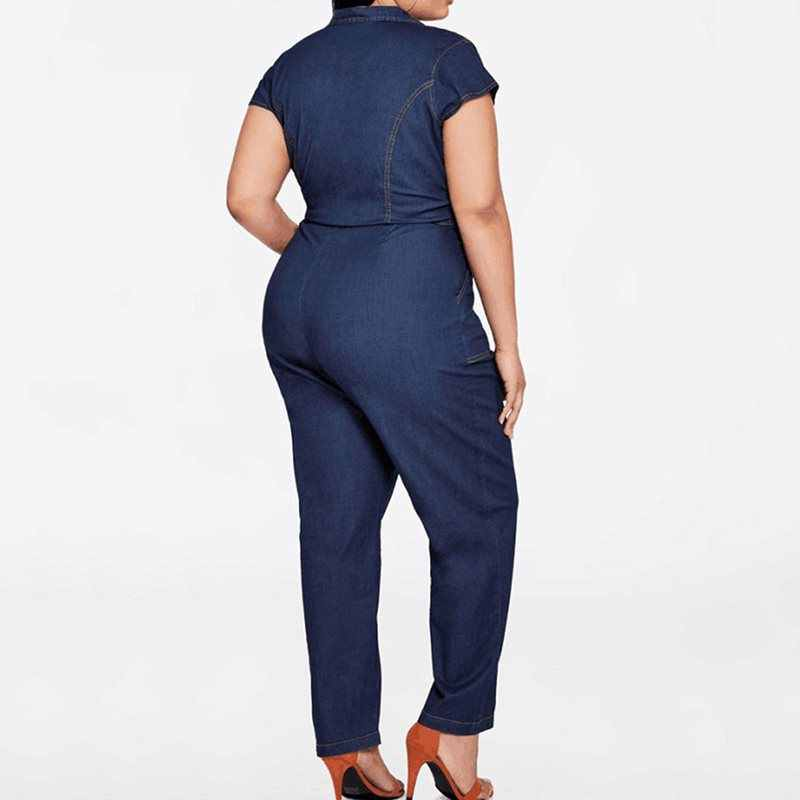 女性の夏デニムジャンプスーツプラスサイズ半袖 2019 レトロ因果オーバーオールスリムジッパーポケットファッションストリートロングジャンプスーツ