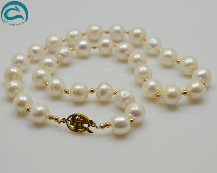 Perles uniques bijouterie AA 9-10 MM blanc véritable collier de perles d'eau douce fait avec 3mm perles d'or 45 CM parfait femmes cadeau