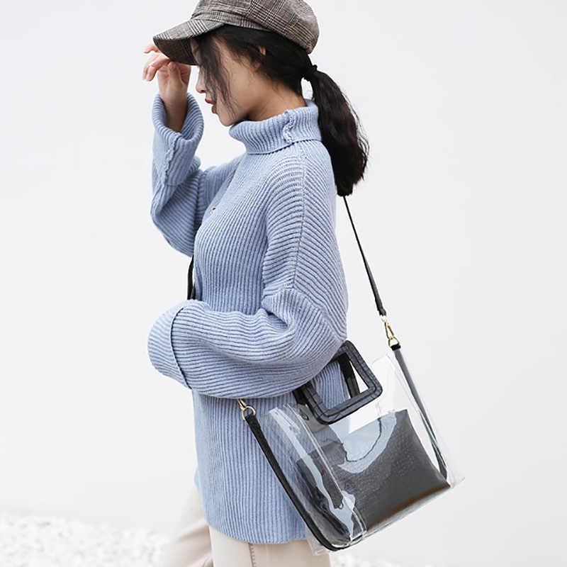 Tas Wanita Mewah Transparan Tas Wanita Permen Desainer Tas Messenger Tas untuk Wanita Crossbody Bahu Top-Handle Bag