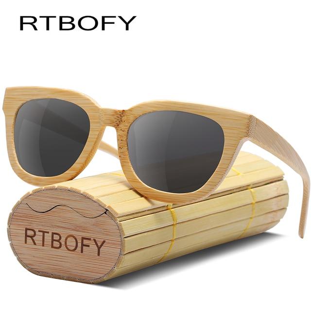 b2dbe312c4 RTBOFY Wood Sunglasses Women Bamboo Frame Sunglass Polarized Lenses Glasses  Men With Bamboo Box UV400 Protection