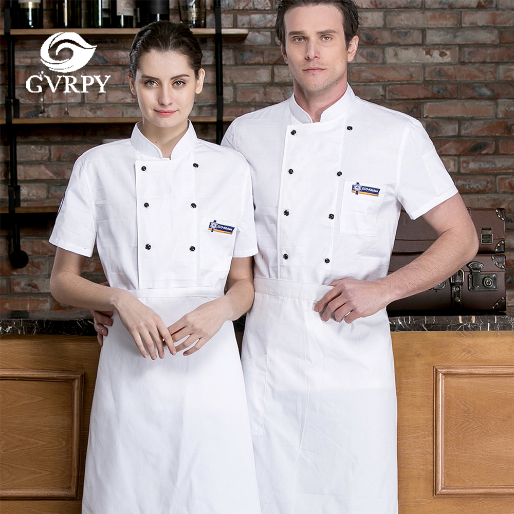 New Short Sleeve Chef Cooking Jacket Summer Breathable Chef Work Uniform Hotel Restaurant Bar Cafe Bakery Waiter Work Shirt