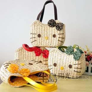 Retail good quality nature corn straw material class style hello retail good quality nature corn straw material class style hello kitty womens handbagsmany colors sciox Choice Image