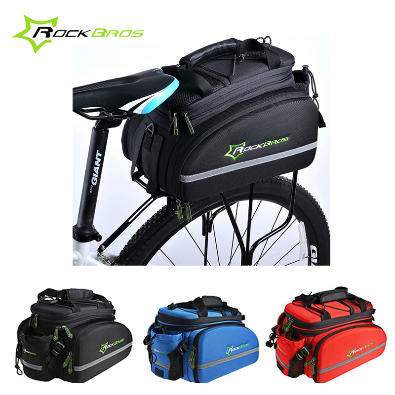 RockBros 12L Outdoor Bicycle Bag 3 IN 1 Cycling Rear Rack Trunk Travel Bag Pannier +Rain cover Bike Bag Accessories 3 Colors cbr waterproof cycling bicycle bag bike rear seat trunk bag handbag rear bike panniers mountain bike outdoor travel package