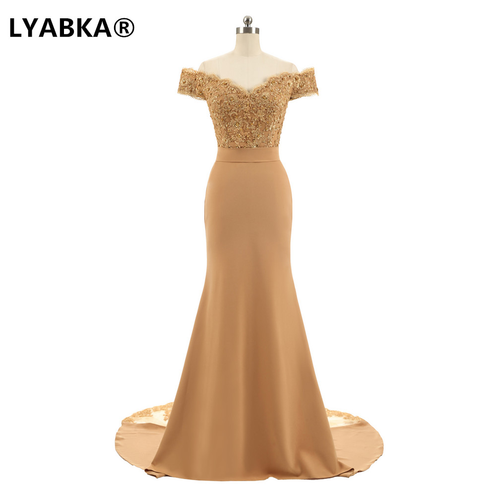 2020 Champagne Wedding Guest Dress Bridesmaid Cap Sleeve Appliques Beaded Mermaid Bridesmaid Dresses Robe Demoiselle D'honneur