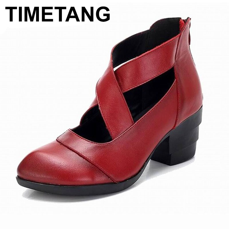 TIMETANG 2018 Vintage Style Cross Straps Handmade Women s Shoes Pumps Genuine Leather High Heels Pointed