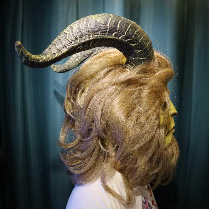 Sıcak Film Güzellik ve Beast Maskesi Yetişkin Lateks Cosplay Prens Beast Maskesi Sahne Gösterisi Maskesi Cadılar Bayramı Kostüm Şapka Sahne
